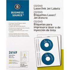 Business Source Laser Inkjet Cd Dvd Labels White