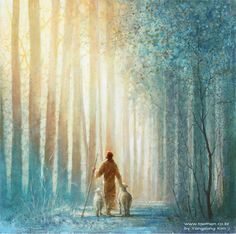jesus christ walking with two lambs in a forest of tall trees Images Du Christ, Pictures Of Jesus Christ, Lds Art, Bible Art, Art Prophétique, Arte Lds, Image Jesus, He Leadeth Me, Jesus Painting