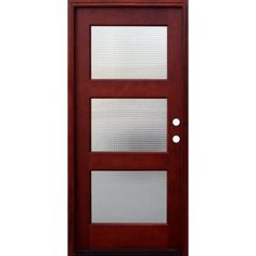 Pacific Entries 36 in. x 80 in. Contemporary 3 Lite Cross Reed Stained Mahogany Wood Prehung Front Door with 6 in. Wall Series-M53CRML6 - The Home Depot