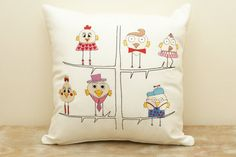 Embroidery cushion. Funny birds. Decorative pillow.