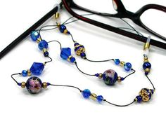 Blue Cloisonne Glasses Chain Reading Glasses Lanyard by TJBdesigns