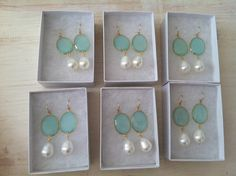 Lovely Aqua and Pearl Bridesmaid Earrings