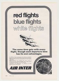 Air Inter Airlines Red Blue White Flights (1975)