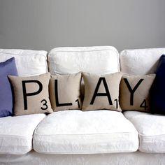 Scrabble pillows - fabulous!