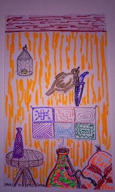 1-29-2016 Moroccan / Arabian nights room. hookah , pillow, small knife, genie bottle and lamp