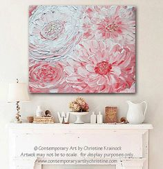 GICLEE PRINTS Art Abstract Pink Peony Painting Flowers Wall Art Home Decor…