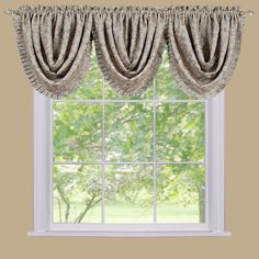Sutton Damask Blackout Waterfall Valance - 36'' x 48'', Beig/Green (Beig/Khaki)
