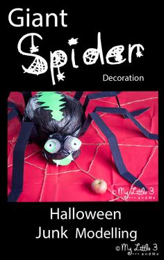 Make a GIANT spider decoration for Halloween. Super cute and recycled too! From My Little 3 and Me.