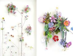 Another arrangement by Dutch artist Anne Ten Donkelaar who lays pressed wildflowers, dried stems, and paper cutouts on top of tiny little pins to create three dimensional collages.