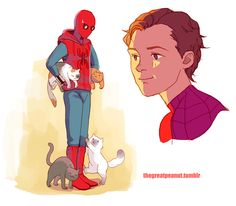 Spidey with NY kitties by @thegreatpeanut