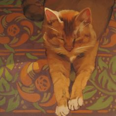 "This cat belongs to artist Jala Pfaff, she was kind enough to let me paint him.  ""Fennec in Sun"" Oil on wood, 8"" x 8,"" sold"