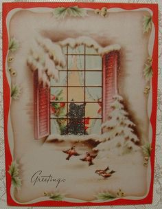 Scottie Dog Watching Birds from Window - 1940's Vintage Christmas Greeting Card
