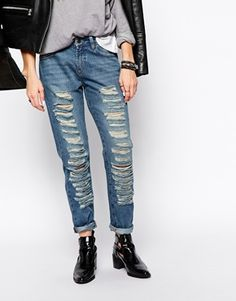 Northmore Denim Distressed Slim Boyfriend Jeans at ASOS £ 35.00