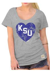 Original Retro Brand K-State Wildcats Womens Heart Tee Grey Scoop T-Shirt