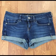 Express jean shorts Super cute and comfy cuffed jean shorts from express! Lightly worn. Size 0, but fit like a 2/4. Express Shorts Jean Shorts