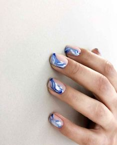Amazing nail art blue white and pink Nail Design Stiletto, Nail Design Glitter, Shellac Nails, Nail Manicure, Acrylic Nails, Blue And White Nails, Blue Nails, Short Gel Nails, Gel Nails At Home
