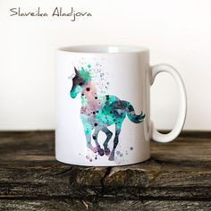 Horse Mug Watercolor Ceramic Mug Unique Gift by WatercolorBook