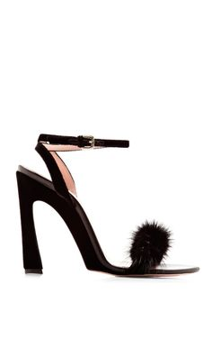 Shop Embellished Mink and Velvet Sandals by Nina Ricci Now Available on Moda Operandi