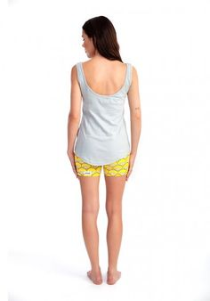 Hot Like a Sunrise organic cotton stretchy pyjama shorts, worn with the Watch Your Back scoop organic cotton singlet in grey. Available from www.thegoodnightsociety.com.au