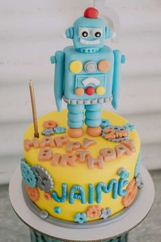 Fun cake at a robot birthday party! See more party ideas at http://CatchMyParty.com!