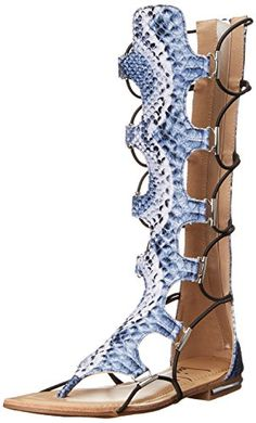 673a4286ee23d3 Luichiny Womens Crown Me Gladiator Sandal Blue Snake 8 M US     Read more