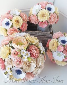 Paper Bouquet Paper Flowers Wedding by morepaperthanshoes
