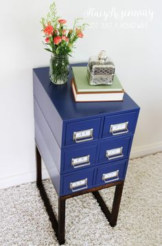 want to make this with my card catalog drawers Card Catalog Side Table