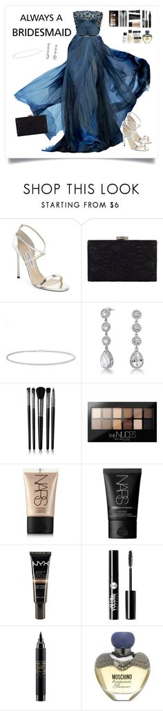 """""""Untitled #216"""" by starshineb ❤ liked on Polyvore featuring Elie Saab, Jimmy Choo, Chesca, Anne Sisteron, Bling Jewelry, Illamasqua, Maybelline, NARS Cosmetics, NYX and Charlotte Russe"""