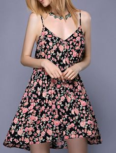 Alluring Pink and Black Spaghetti Strap Tiny Floral Print Women's Summer Dress #Pink_and_Black #Tiny_Floral #Summer_Dresses #Strappy_Dresses #Midi_Dresses #Print_Dresses