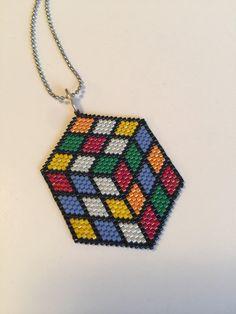 Rubiks Cube Beadwork Pendant Necklace by RareSpecimens on Etsy