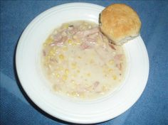 Creamy Ham and Corn Chowder from Food.com:   This is a recipe I came up with a few years ago when I had a leftover ham bone from dinner, and it's wonderfully tasty. Good for using the leftovers after Christmas or Easter dinners. Serve with good, crusty bread and be ready to provide seconds. :)