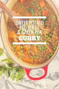 Sweet Potato, Red Lentil, and Green Pea Curry. A simple dish with Indian flavors perfect for a weeknight. Vegan, gluten free. Blossom to Stem | http://www.blossomtostem.net