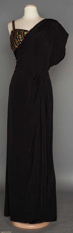 ADELE SIMPSON EVENING GOWN, 1940's | Black silk faille 1 shoulder toga-style gown & separate black silk bra w/ gold paillettes