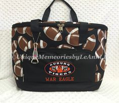 Football Themed insulated Cooler Bag - Auburn Tiger's inspired Logo & WAR EAGLE on front - Tailgates, Sporting events, boating, beach, gift by UniqueMemoriesLeAnn on Etsy