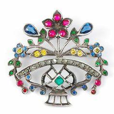 Antique Sterling Silver Giardinetti Flower Basket Brooch Pin   eBay