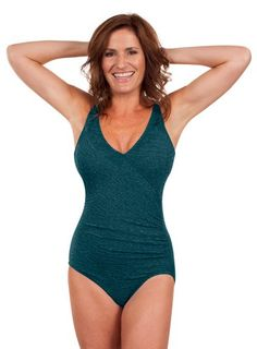 Women's Athletic One-Piece Swimsuits - Krinkle Chlorine Resistant Mock Surplice Tank >>> Check out this great product.