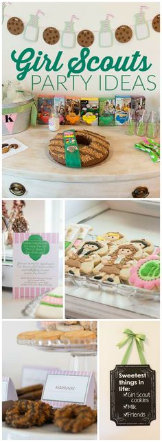 Checkout this adorable cookies and milk themed Girl Scouts party!