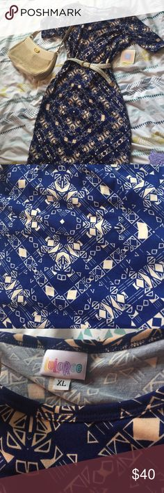 NWT lularoe Julia Beautiful blue and cream colored Julia dress! I hate to let it go but the pattern is just a little too busy for me. ❗️purse is also listed for sale LuLaRoe Dresses Midi