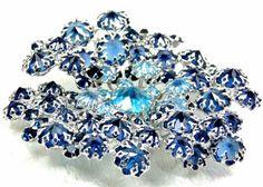Huge Rhinestone Brooch Schreiner Jewelry Silver and Blue