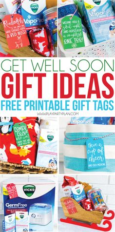 Looking for get well soon gift ideas for men for women or even kids? Put together one of these DIY care packages or gift baskets for friends or family with the printable get well soon gift tags to let them know you hope they feel better soon! Get Well Soon Basket, Get Well Baskets, Gift Baskets For Women, Get Well Soon Gifts, Homemade Gifts, Diy Gifts, Best Gifts, Get Well Soon Images, Get Well Wishes