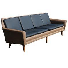 8ft Restored Danish Modern Dux Leather Sofa Couch | eBay