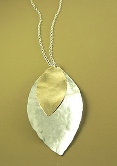 mixed planished leaf by Mingle Jewelry