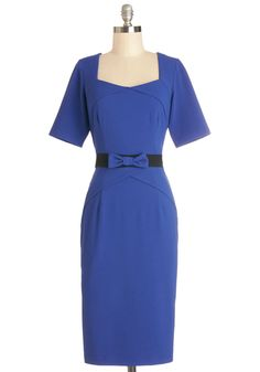 Moxie in Motion Dress - Blue, Solid, Bows, Party, Shift, 3/4 Sleeve, Better, Sweetheart, Woven, Work, Long