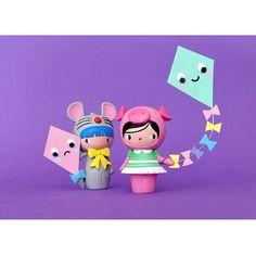 BFF dolls: Mookie and Muffin by Momiji Let's go fly a kite! #momiji #momijidolls…