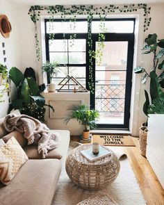 boho interior inspiration & plant love & living room inspiration & lovely home & & & Apartment Inspiration, Living Room Inspiration, Interior Inspiration, Boho Inspiration, Decoration Bedroom, Diy Room Decor, Jungle Living Room Decor, Jungle Bedroom, Cute Living Room