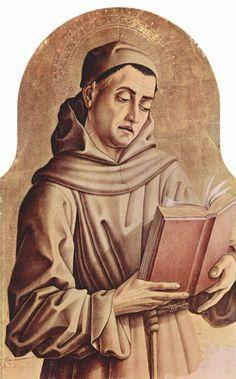 CARLO CRIVELLI (1435 – 1495) | Polittico di Montefiore (dettaglio) - Santo francescano. Chiesa di Santa Lucia, Montefiore dell'Aso.