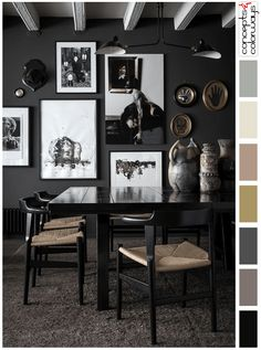 black and mauve interior color palette, pantone warm taupe, black and white watercolor art wall, gold oval wall art, white wood beams, black dining chair with woven seats, glossy black dining table, brownish-gray shag rug, interior color palettes