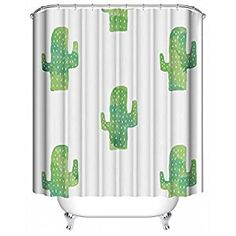cactus shower curtain, cactus shower, cactus curtain, white shower