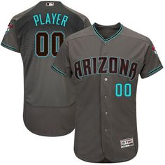 14b3fda0f Men Arizona Diamondbacks Majestic Gray Turquoise 2017 Flex Base Authentic  Custom MLB Jersey