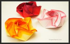 This paper craft is a Rose origami, designed by Evi Binzinger, and the video tutorial by Tadashi Mori. This step-by-step video instruction showing how to make this Origami Rose:   Source: